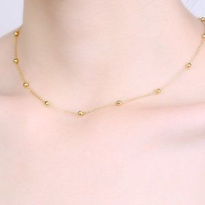 Jewelry - Choker Beads Necklace 925 sterling silver, 18kgold